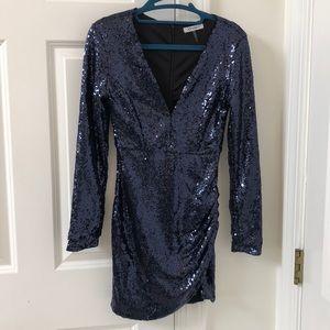 Xtaren longsleeve navy blue sequin party dress